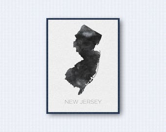 New Jersey Map Watercolor Poster, United States Map Print, Gray Version
