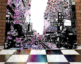Surreal Hong Kong Skyline Handcrafted Spray Painting Onto Canvas - Original Artwork - Painting