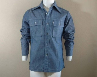 Vintage Levis 70's Disco Panatela Shirt Men's Chambray Jean Denim White Tab M L