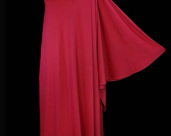 Halston single sleeve toga dress, vintage grecian goddess evening gown, red draped jersey, 1970s couture red carpet, 1 sleeve, one shoulder