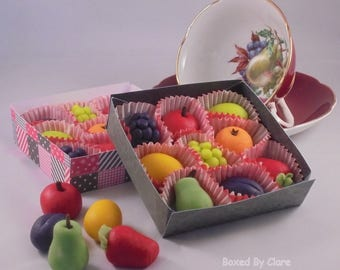 Handmade Marzipan Fruits - Apples, Oranges, Plums, Grapes, Lemons, Limes - Gift Boxed - Sweets - Candy