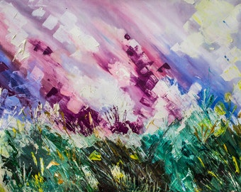 What dreams may come painting, Abstract landscape painting, Field painting, Oil painting on canvas, Abstract nature painting, sky painting