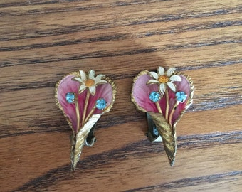 Austria? Pink, Cream and Gold Metal Flower Earrings with Rhinestones and Gold Metal 1072
