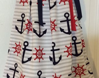 Anchor & Wheel Pillowcase Dress Size 6m