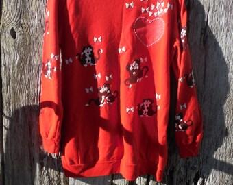 Vintage 80s Cat sweatshirt puff paint dancing hugging and kissing kitties kittens hearts love Valentines kitty hipster Tokyo street wear