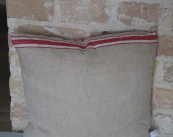 pillow from antique linen: thick red white stripes / 40*40cm