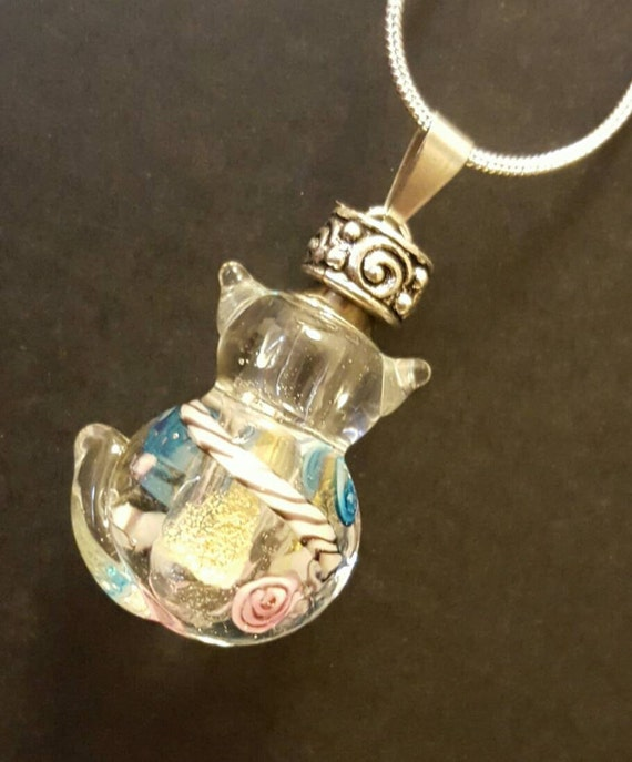 clear glass cat urn cat necklace cremation jewelry pet