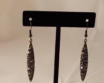 Bronze Tear Drop & Black Crystal Earrings - Tear Drop Earrings - Black Crystal Earrings - Bronze Earrings - Black Earrings - Women's Earring