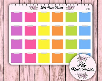24 Post It Note Stickers P-23 - Perfect for Erin Condren Life Planners / Journals / Stickers.