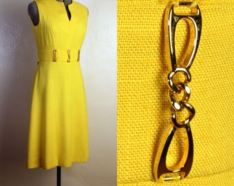 1960s Yellow Linen Dress with Gold Metal Belt Loops, Swan Neckline, Sleeveless, Spring, Summer, Beach, Sundress, Drop Waist Belt