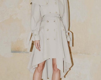 SALE Light Beige Short Trench with Buttoned Epaulettes and Storm Flaps, Cropp Length Trenchcoat with Double Breasted Front by ILMNE