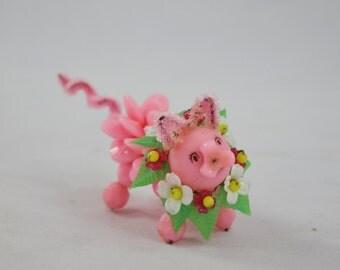 Vintage Small Handmade Bead Pig Ornament