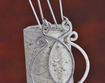 Sterling Silver Hoop Earrings, Handmade Sterling Silver Earrings, Fun-Shaped Sterling Silver Earrings, Everyday Earrings, Birthday Gift