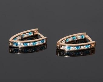 Geometric earrings, Blue stone earrings, Rose gold earrings, Modern earrings, Casual earrings,Everyday earrings, Cz gold earrings