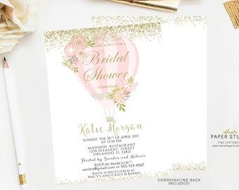 Custom Bridal Invitation, Pink Gold Bridal Shower Invitation, Party Invitation, Confetti Shower Invitation, Printable Invitation, BR084