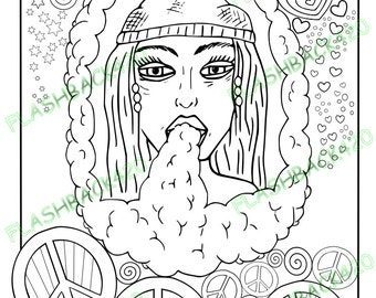 stoner gift printable coloring page for adult bong hippie art pdf line - Hippie Coloring Pages