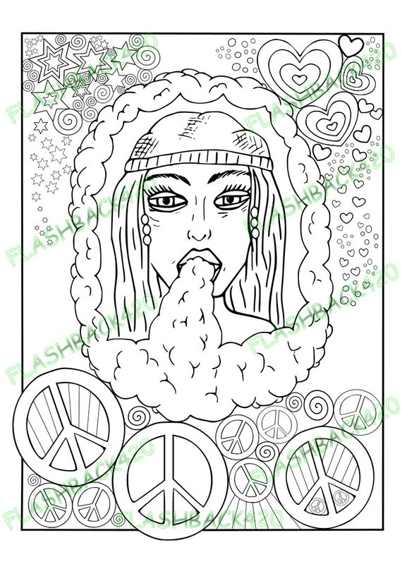 Stoner gift printable coloring page for adult bong hippie for Bong coloring pages