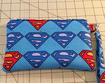 Super Heroes Wristlet, Zipper pouch, makeup bag, ready to ship