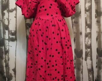 1980s Choon California Ruby Red polka dot dress