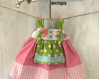 Girls Floral Apron Knot Dress