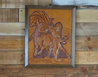 Matador - Bullfighter - Leather - Handmade - Hand carved leather - Spanish matador - Sculpture - Framed wall art - Vintage art