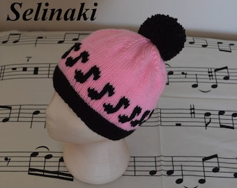 Knit Music Notes Light Pink Hat Beanie with Pom Pom