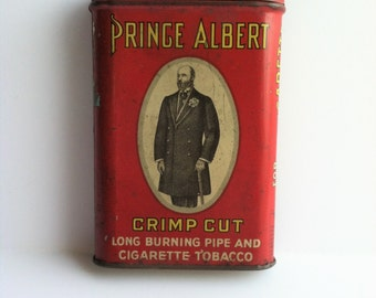 PRINCE ALBERT Tobacco Tin, Crimp Cut Pipe-Cigarette Tobacco Tin, Red Metal Pocket Tin, Vintage Collectible Tin, Tobacco Tin Red Tobacco Tin