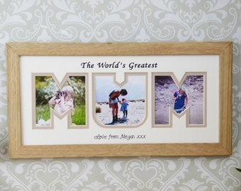 Personalised photo frame, unique Mum gift, , the perfect custom gift for the World's Greatest Mum, Mam or Mom.