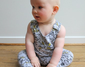 Harem Romper - Behind the Leaves - READY TO SHIP by Little Dreamer