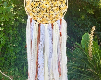 Yellow Crochet Mandela Dreamcatcher