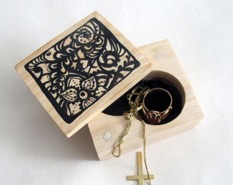 Hand Painted Wood Ring Bearer Box, Small Wooden Ring Box,