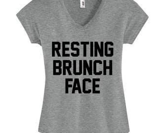 Resting Brunch Face, Women's V-Neck T-Shirt, Womens Graphic Tshirt