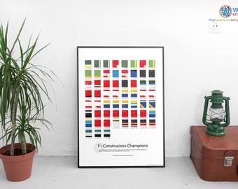 Formula 1 Pantone style Championship History - print / art / poster - F1