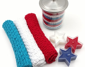 Red, White, and Blue Crochet Washcloth, Dishcloth Set of 3    [088]