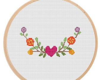 Flower Garden Cross Stitch Pattern | Instant download Embroidery | Handmade Needlework Modern cross stitch Pattern Printable PDF File PT11