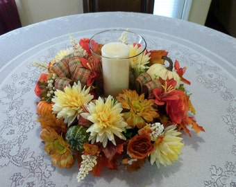 Fall Candle Rings Wreaths, Table Wreath with Mums, Candle Wreath with Mums and Pumpkins