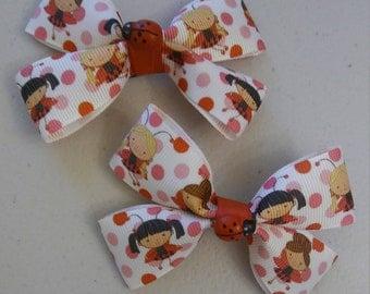 Lady bug hair bows