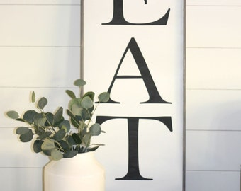 eat sign, large EAT sign, 12x24, kitchen wall decor, kitchen wood eat sign, fixerupper style kitchen, wooden eat sign, dining room wall art