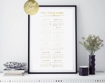 2017 Gold Calendar, Wall Calendar, Hand Lettered Calligraphy, Real Gold Foil Print, Wall Calender, Minimal Handwritten, Christmas Gift.