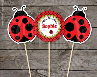 LADYBUG PARTY DECORATIONS, Ladybug Centerpieces, Ladybug Printables, Ladybug Birthday - Instant Download, Edit Text in Adobe Reader