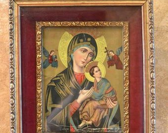 Antique, Vintage Madonna and Child Print in Old Gold Frame with Red Velvet Matting