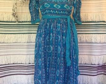 Vintage Adini Indian Cotton Dress All Over Aztec Print boho folk beach