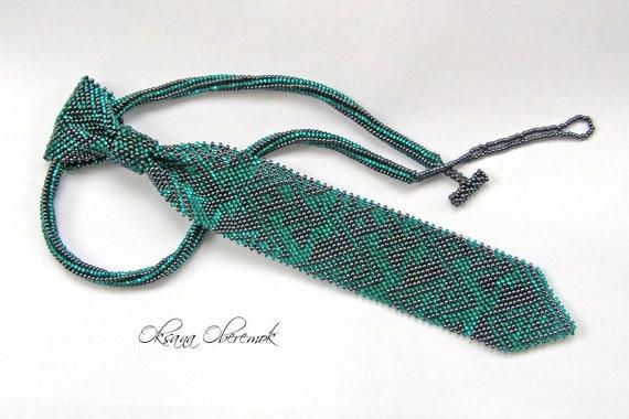 Short Tie beaded Women's necktie Native beadwork Mens ties