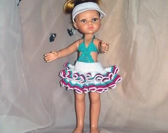 Handmade swimsuit set (swimsuit, skirt, visor cap) for babydoll (Paola Reina, 30-34cm)