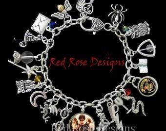 Harry Potter Themed Charm Bracelet, Golden Snitch