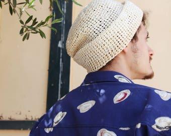 Retro beige summer hat,beanie,cap.