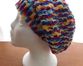 crochet multi colour slouch hat