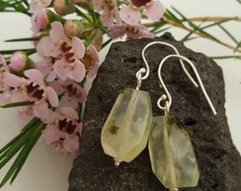 Faceted green prehnite (grapestone) drop earrings