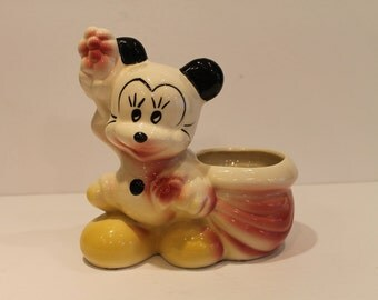 Vintage Mickey Mouse -  Minnie Mouse Ceramic Planter Pot - Disney Flower Pot - Leeds Ceramic Mickey