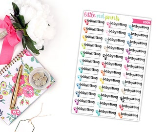 Babysitting Planner Stickers for the Erin Condren Life Planner, Script Sticker, Script Planner Sticker - [P0479]